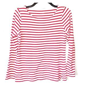 Boden cotton t-shirt red and White stripe EUC